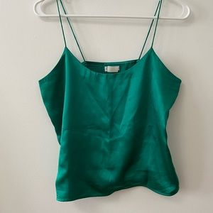 CAMICE SATIN FOREST GREEN VINTAGE TANK TOP